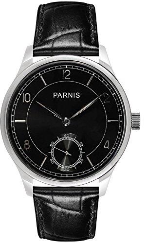 PARNIS 9021 Klassische Handaufzug-Herrenuhr 44mm mechanische Herren-Armband-Uhr Edelstahl Lederarmband Seagull ST36 Markenuhrwerk (Herren-uhren Handaufzug)