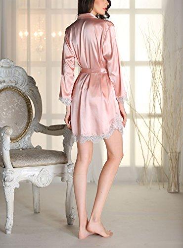 Aivtalk Femme Ensemble de Pyjama 2Pcs Luxe Robe de Chambre à Bretelle Dentelle Col-V Peignoir Satin Longue Manche avec Ceinture (Taille FR: 34-40) - 4 Couleurs Rose