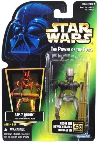 Star Wars The Power of the Force ASP-7 Droid - Figura de acción de 10,16 cm con varillas de suministro Spaceport