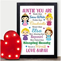 Christmas Gifts for Auntie Aunt Aunty Disney Princess PERSONALISED Xmas for Her - PERSONALISED with ANY NAME and ANY RECIPIENT - Black or White Framed A5, A4, A3 Prints or 18mm Wooden Blocks