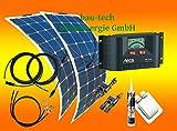 200 Watt Flexi Wohnmobil Camping Solaranlage mit Steca Laderegler, 12 Volt SET, von bau-tech Solarenergie GmbH