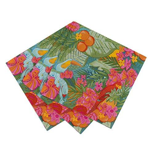 Talking Tables Tropical Fiesta Serviettes en Papier Festives à Motif Floral pour Anniversaire, Barbecue et Fête Estivale, Multicolore (Paquet de 20)