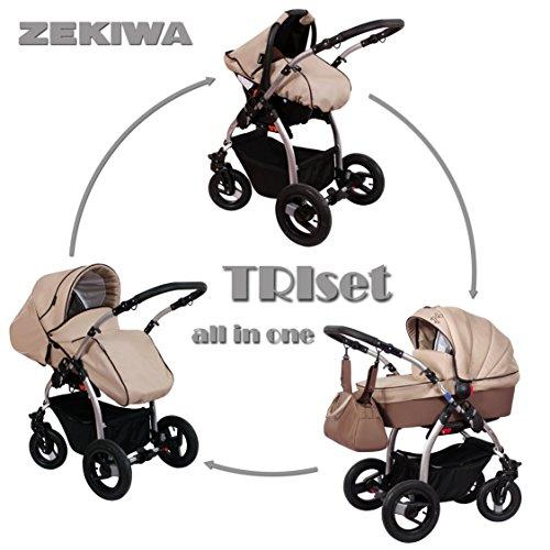 Zekiwa TRIset 3 in 1 Komplettangebot mit separatem Sportwagenaufsatz inklusive Wickeltasche und Regenhülle und Insektenschutz (Coffee)