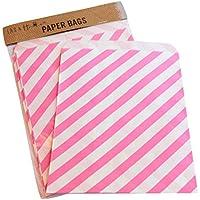Sacchetto di carta a righe party 25 / caramelle dolci regalo, 13x18cm - Rosa