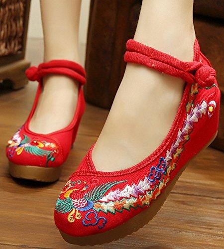 Icegrey Femme Mary Janes Fait Main Broderie Phénix Ballerine Chaussures Plat Rouge