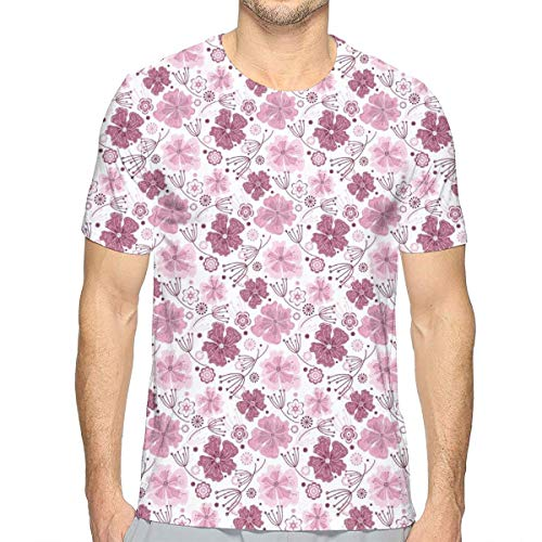 3D Printed T Shirts,Baroque Inspired Nature Motifs Floral Composition Vintage Blossom S -