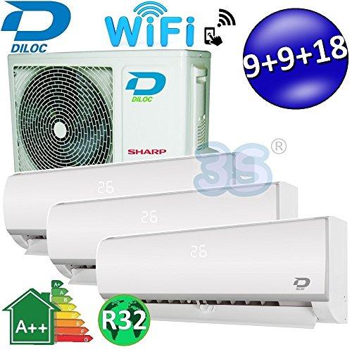 Climatizzatore inverter trial split FROZEN R32 9000+9000+18000 Btu DILOC classe A++/A+ funzione smart WIFI