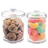 mDesign 2er-Set Aufbewahrungsgläser – Vorratsdosen aus Kunststoff – für Kekse, Schokolade und andere Süßigkeiten – dekorative Bonbonniere mit Deckel für eine trockene Aufbewahrung – durchsichtig