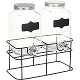 vidaXL Lot de 2 distributeurs de boissons avec support - Robinet - Distributeur d'eau - Distributeur de jus - Distributeur de