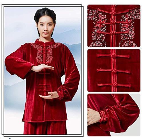 Tai Chi Anzug Chinesische Kung Fu Kleidung Tai Chi Kleidung Atmungsaktive Tai Chi Uniform Verdicken Warmhalten Kung Fu Qi Gong Kleidung Gruppe Leistungskleidung Kampfkunst Kleidung,Red-L