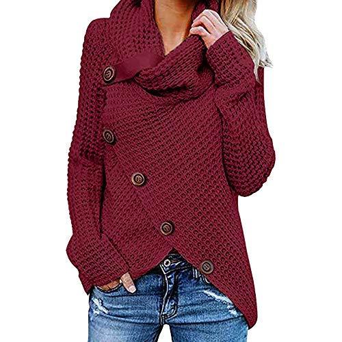 iHENGH Damen Herbst Winter Übergangs Warm Bequem Slim Mantel Lässig Stilvoll Frauen Langarm Solid Sweatshirt Pullover Tops Bluse Shirt (Wein, S)