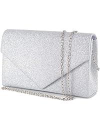 3d303a6d40 Emila Pochette donna elegante da cerimonia Borsa piccola gioiello Clutch  glitter argento oro Borsetta a mano