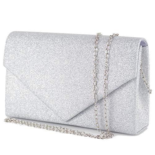 31373e292b Pochette donna elegante da cerimonia Borsa piccola gioiello Clutch glitter  argento oro Borsetta a mano nera