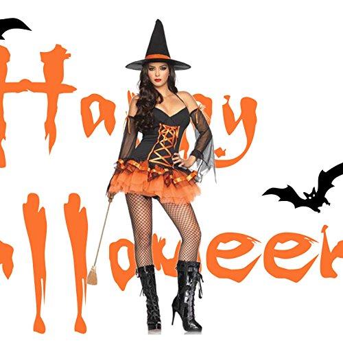 [mia.home®]Hexe Kostüm Candy Hexe Halloween Damen Sexy Kleid Outfit mit Hexenhut (Home Hexe Kostüm)