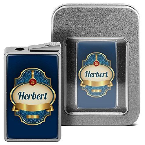 Feuerzeug mit Namen Herbert - personalisiertes Gasfeuerzeug mit Design Wappen 2 - inkl. Metall-Geschenk-Box 2