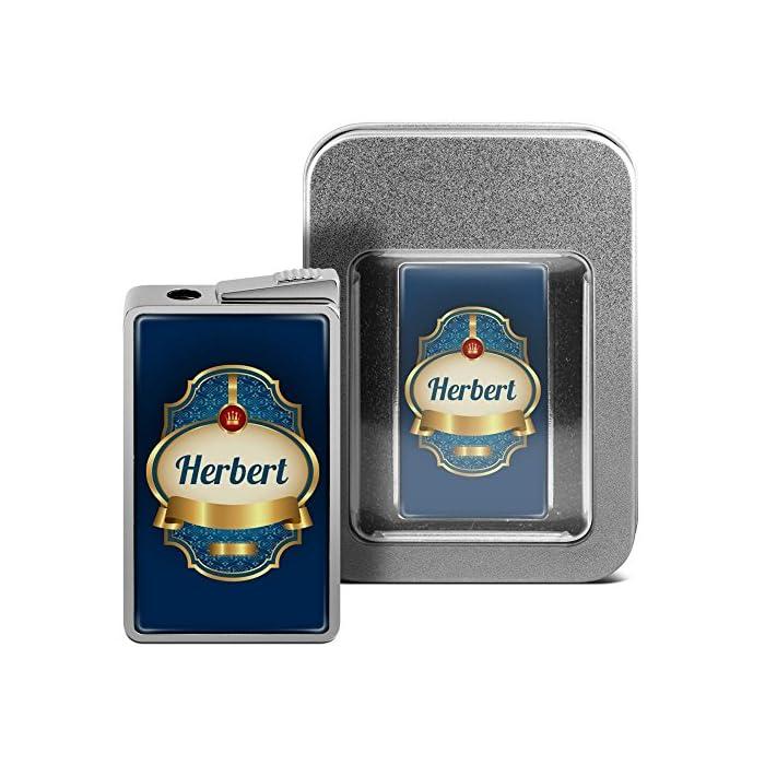 printplanet Feuerzeug mit Namen Herbert - personalisiertes Gasfeuerzeug mit Design Wappen 2 - inkl. Metall-Geschenk-Box