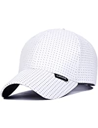 CACUSS Men s Summer Baseball Cap Mesh Cap PU Cap Hat with Adjustable Metal  Buckle 69f76f02304d