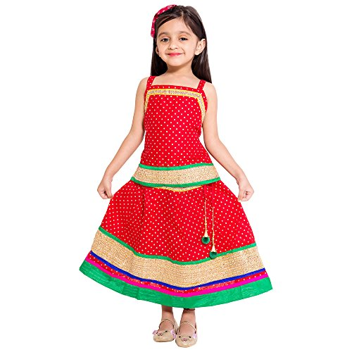 Disha Cotton Baby Girl Lehenga Choli Set KID241, Red, 6-12 Months