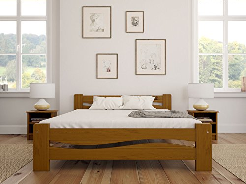 Solid Pine Wooden Bed Frame Super King Size 6ft In Oak Colour & Sturdy Thick Slats