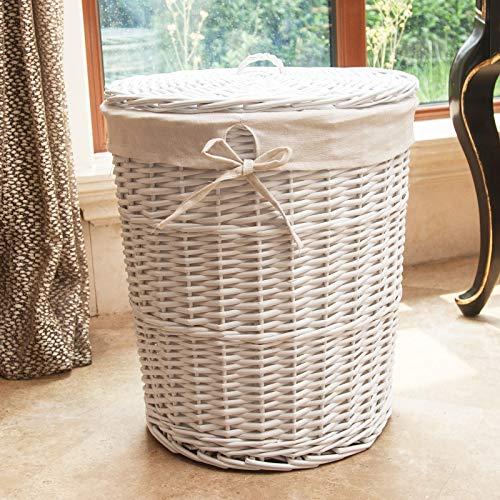 LGDBB Laundry Basket Rattan Mimbre Cesta Cubo de la Ropa Sucia de Recibir la Cesta de la Ropa de Recibir Cesta con Tapa Redonda,Medium,por Favor,Ropa Blanca y Pura