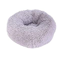 AMJYH Haustier-Bett, Cozy Donut Hug Round Bed Super Soft Waschbar Katze Hundekissen Bett (Color : Purple, Size : 70cm)