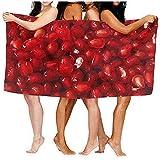 Drollpoe Serviettes de Plage pour Femmes Hommes Couverture Graines de Grenade Draps de Bain de Fruits Tropicaux Doux Camping Grand Housse de Serviette