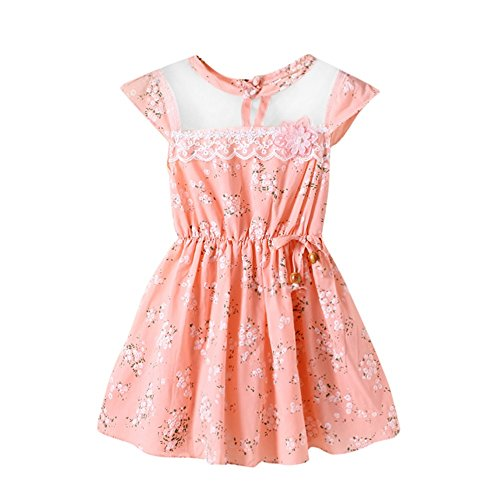 (Sonnena Ärmellos Neugeborene Kleinkind Baby Mädchen Blumendruck Spitzennetz beiläufige Prinzessin Dress Clothes Partykleid)