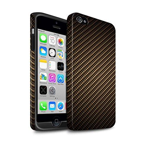 STUFF4 Matte Harten Stoßfest Hülle / Case für Apple iPhone SE / Grau Muster / Kohlenstoff-Faser-Muster Kollektion Gold