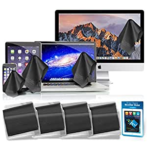 """Clean Screen Wizard - Microfiber Screen Protector & Cleaner - For Laptops iPad & MacBook Air - Pro 11"""" 13"""" 15"""" Non-Retina - Best 4 Pack Large Cloth Keyboard Covers in Vinyl Pouches + Cleaning Sticker"""