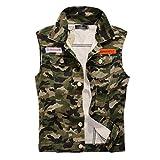 WS668 Herren Retro Zerrissen Gilets Mantel Classic Denim Weste Ärmellose Jacke Mens Coat (EU/DE XX-Large (Asia Tag 4XL), Tarnung)
