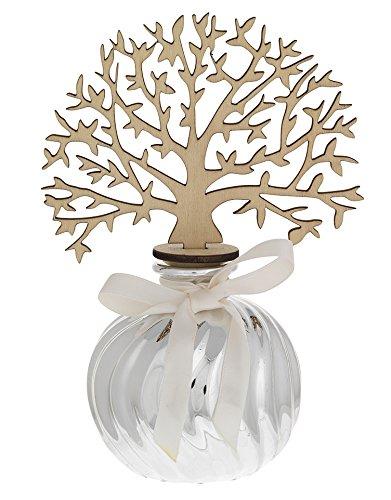 Preisvergleich Produktbild Lufterfrischer Baum des Lebens von Holz mit Topf von Keramik versilbert Groß Cm 7, 5 x 17 – Made in Italy
