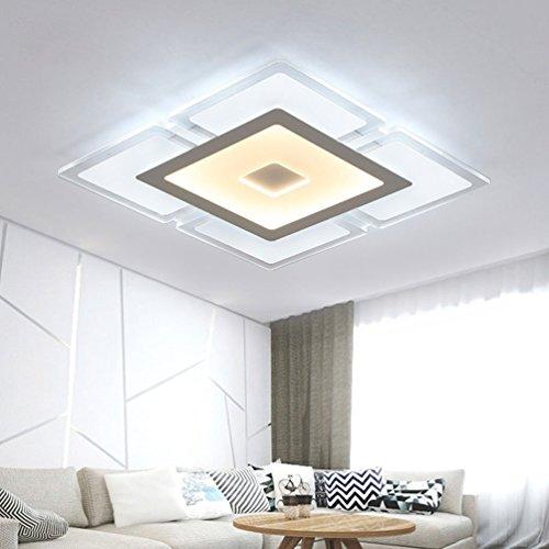 WARM home 36W Einbau-Deckenleuchte LED Modern/Zeitgenössisch Wohnzimmer Schlafzimmer Deckenleuchte Quadratisches Metall Acryl Schatten Fernbedienung Stufenloses Dimmen Leuchter 52 * 52 * 5 cm - Messing Schwarz Schatten Leuchter