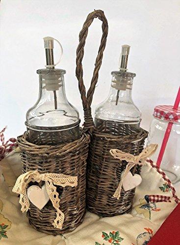 Homes on Trend Bottiglie di condimento dell'olio di vetro nel deposito  d'annata francese del carrello del cestino di vimini del cuore