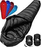 Hyke & Byke Quandary 15 Degree Down Sleeping Bag for Backpacking, Ultralight Mummy