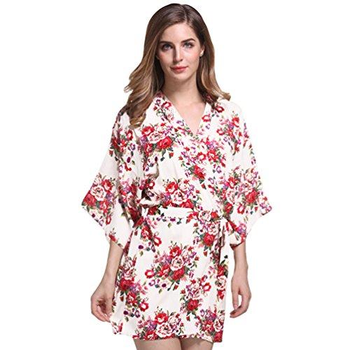 CHENGYANG Damen Kimono Robe Nachtwäsche Blume Kurz Morgenmantel Bademäntel Schlafanzüge Weiß
