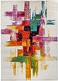 Carpetforyou Designer astratta a pelo corto Tappeto Pastels strisce colorato in 4misure per soggiorno e camera dei ragazzi, Polipropilene, Bunt, 140 x 200 cm