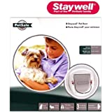 STAYWELL Big Cat Small Dog 4 Way Locking Pet Door (White) (280EFS)