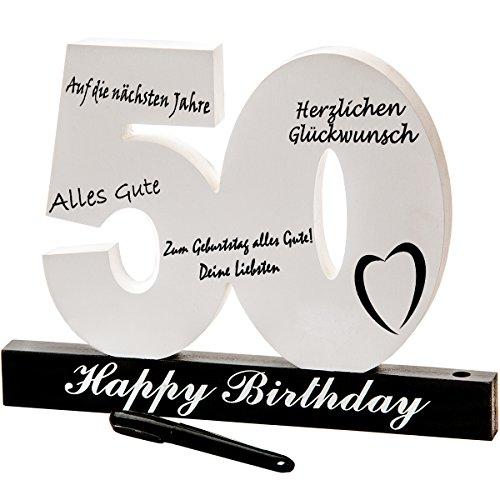 18. 30. 40. 50. Geburtstag individuelles Gästebuch Geburtstagszahl zum Beschriften, alle Gäste verewigen sich auf der Party (50.)