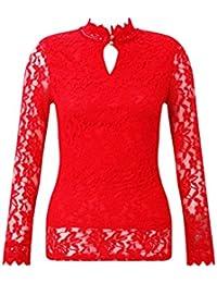 205a8dc29e65b Ladies High Neck Long Sleeve Keyhole Lace Top UK Size 8-12