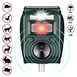 Kaliwa Solar Tiervertreiber Ultraschall Katzenschreck Vögelschreck mit Bewegungssensor & Blitz als Marderschreck, Tierschreck, Solar Batteriebetrieben & USB aufladbar (5 Modus Einstellbar) (3)