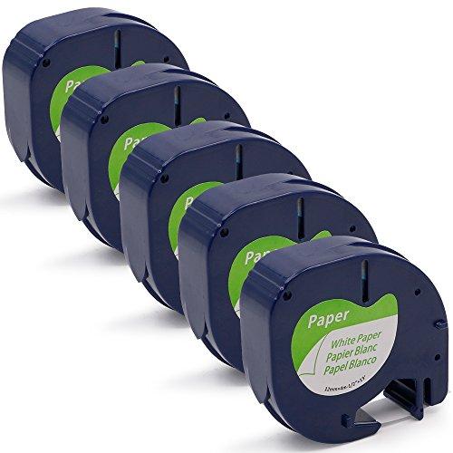FreshWorld 5 x Papier Ruban pour étiqueteuse 91200 S0721510 Noir sur Blanc 12mm x 4m Compatible avec Dymo LetraTag LT-100H LT-100T LT-110T QX 50 XR XM 2000 Plus Label Maker