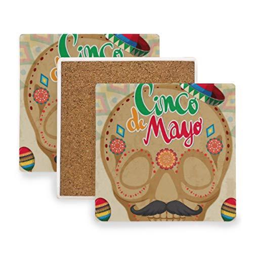 Verycoolthiskid Cinco De Mayo-Karten-Schablone mit dem menschlichen Schädel Untersetzer für Getränke Untersetzer Untersetzer Untersetzer Set Cup Mat Pad 4er Set