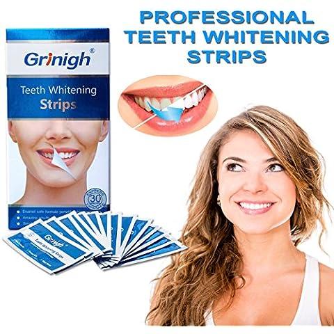 Lo sbiancamento dei denti strisce con Advanced antiscivolo Tecnologia - 28 Whitestrips by Grinigh® - (Listerine Strisce Orali)