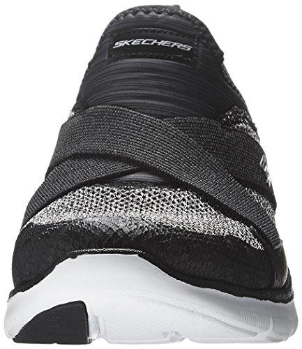 Skechers Flex Appeal 2.0 New Image, Baskets Basses Femme noir/blanc
