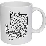 Azeeda 320ml 'Barco Vikingo' Taza de Ceramica (MG00009407)