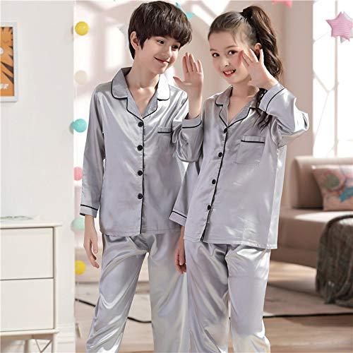 Fousamax Jungen Mädchen Pyjamas Set, Silk Satin Langarm Nachtwäsche Loungewear