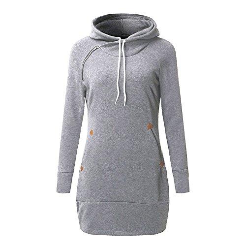 Femme Sweats à capuche Mini Robe ,Bmeigo Hooded Sweatshirt Pull avec poches Manche longue Slim Fit Plus Size XL-6XL Grey