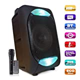 Visions India Outdoor Bluetooth Portable DJ Party Speaker with LED Lights & USB/FM/TF