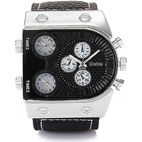 GL Militare degli uomini Oversize Multi TimeZones 3 quadranti pelle analogico sportivo orologio da polso Band Nero, Nero