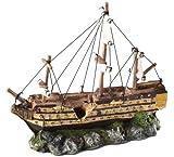 Aqua Della barca a vela decorazione acquario, 37x 12x 28.5cm